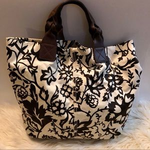 Gap brown leather and canvas floral tote